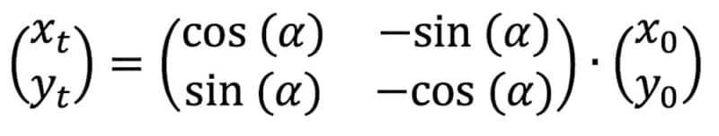 berechnung des ortsvektors mittels einer drehmatrix