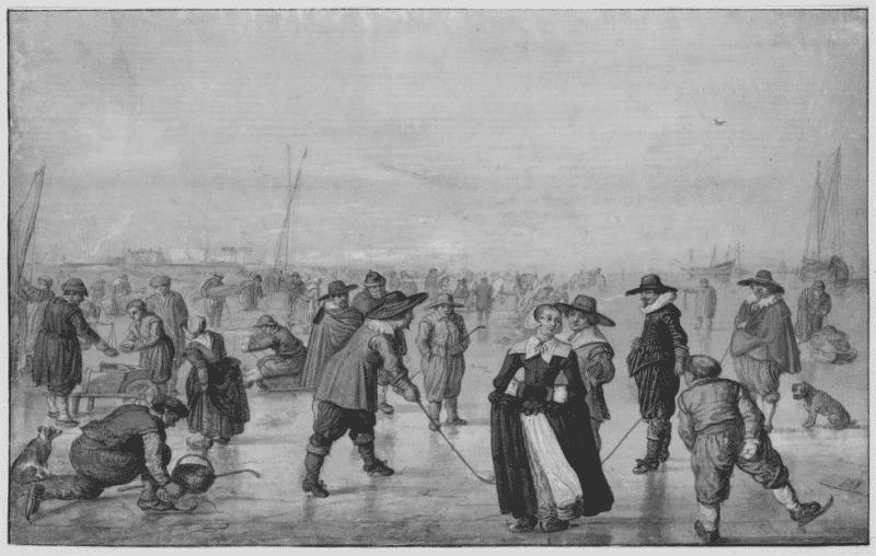 menschen auf einem zugefrorenen kanal in den niederlanden