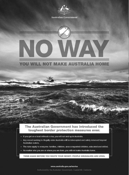 abschreckungsplakat gegen geflüchtete der australischen regierung