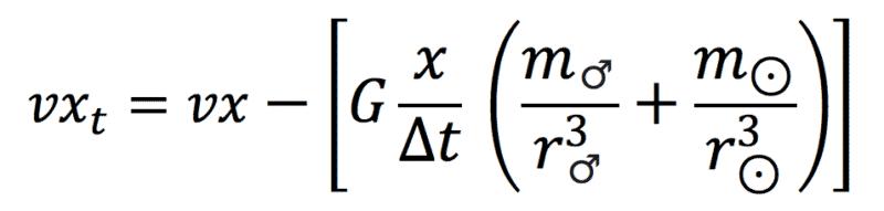 formel zur berechnung der neuen geschwindigkeit der erde in einem dreikörperproblem (ausgeklammert)