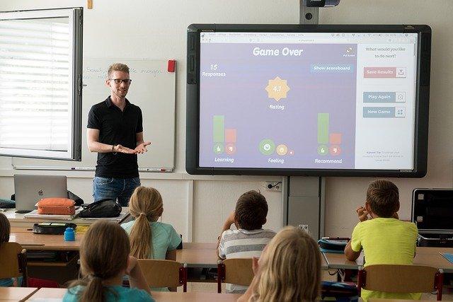 digitale leinwand im klassenzimmer